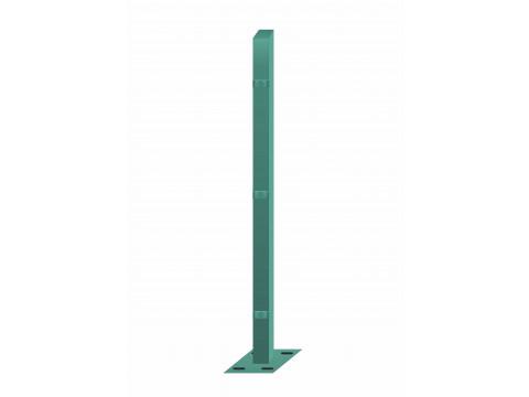 Stup sa pločicom kvadratni sa tri spojnice i kapom, 2050mm 50x50 tamno zelena