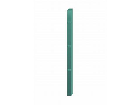 Stup za ugradnju u beton kvadratni sa tri spojnice i kapom, 2500mm 50x50 tamno zelena