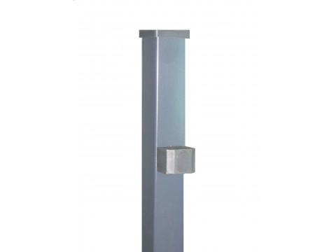Stup za ugradnju u beton kvadratni sa tri spojnice i čepom, 2500mm 50x50 tamno siva