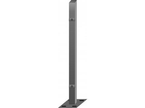 Stup sa pločicom kvadratni sa dvije spojnice i kapom, 1250mm 60x60 tamno siva