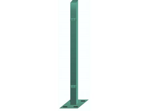 Stup sa pločicom kvadratni sa dvije spojnice i kapom, 1050mm 50x50 tamno zelena