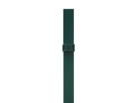 Stup za ugradnju u beton kvadratni sa tri spojnice i čepom, 2500mm 50x50 tamno zelena