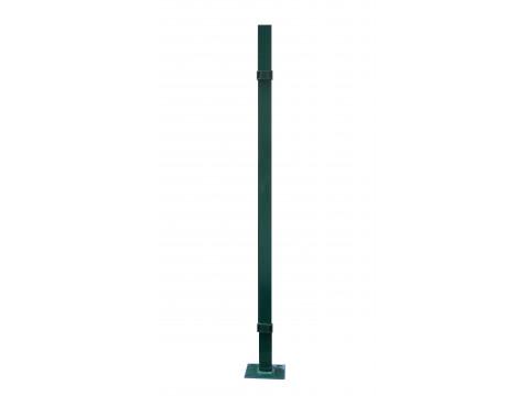 Stup sa pločicom kvadratni sa tri spojnice i čepom, 2050mm 50x50 tamno zelena