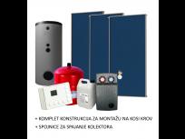 SOLARNI SET ZA ZAGRIJAVANJE VODE 3 plava kolektora, 500L spremnik, kontroler, pumpna stanica i ostalo