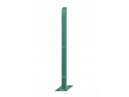 Stup sa pločicom kvadratni sa tri spojnice i kapom, 1750mm 40x40 tamno zelena