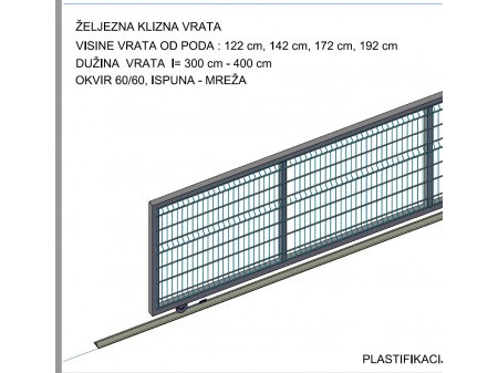DVORIŠNA KLIZNA VRATA š/v 1420x3000 mm, ZELENA