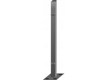 Stup sa pločicom kvadratni sa dvije spojnice i kapom, 1050mm 40x40 tamno siva