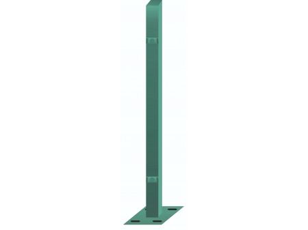 Stup sa pločicom kvadratni sa dvije spojnice i kapom, 1250mm 40x40 tamno zelena