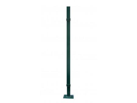 Stup sa pločicom kvadratni sa dvije spojnice i čepom, 1050mm 40x40 tamno zelena